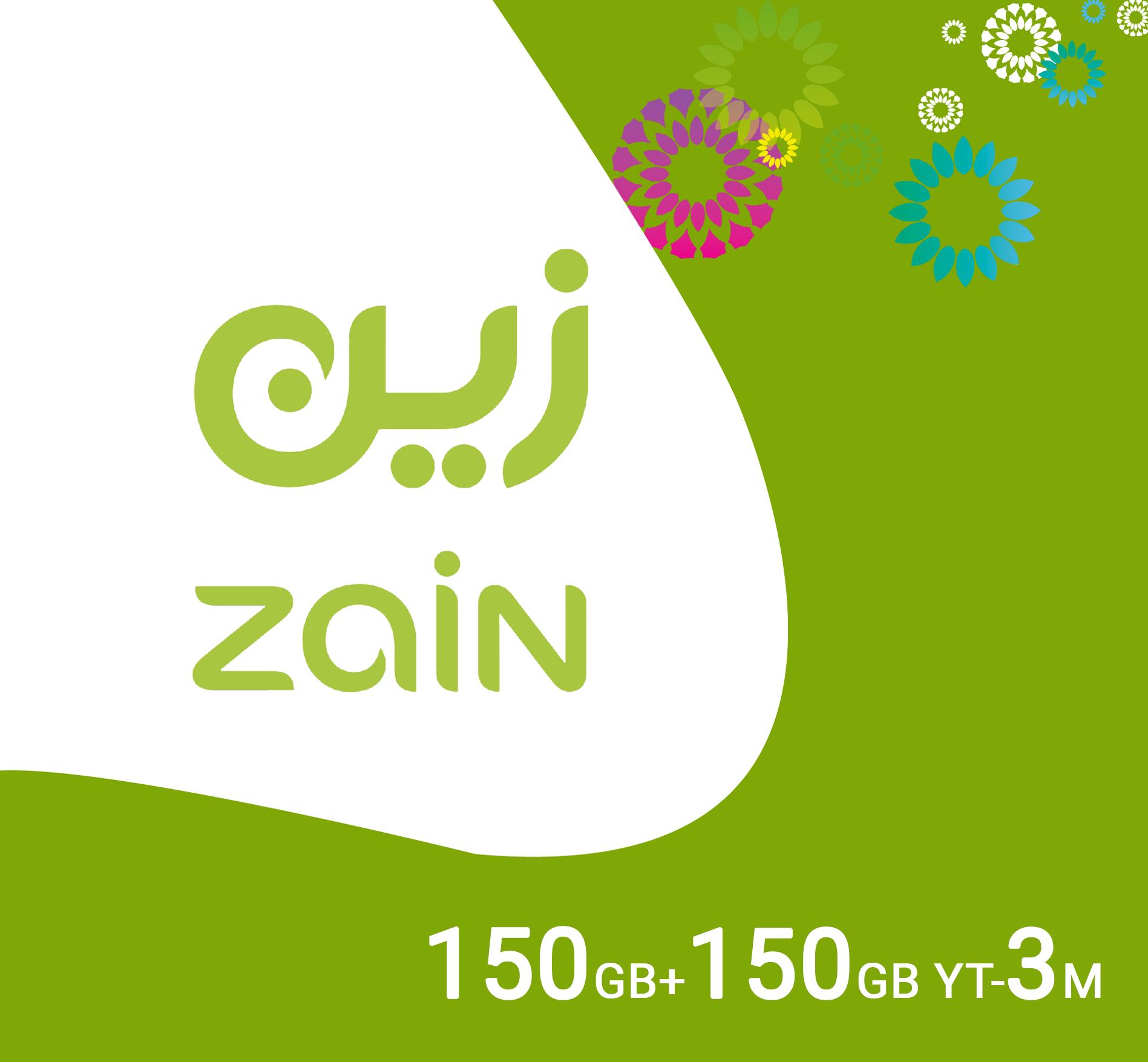 Zain Data Recharge 150GB + 150GB Youtube - 3 Months