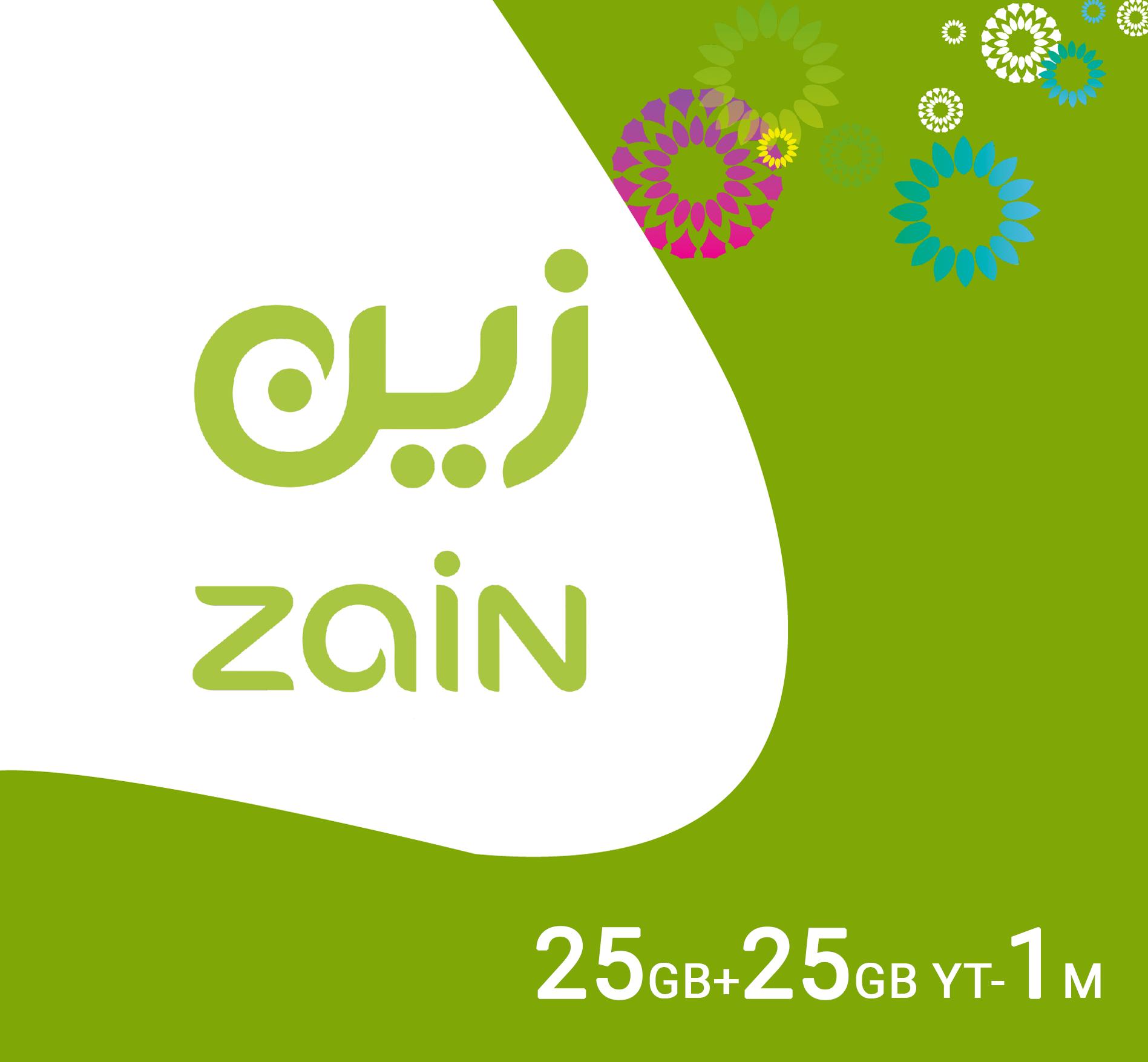 Zain Data Recharge 25GB + 25GB Youtube - 1 Month